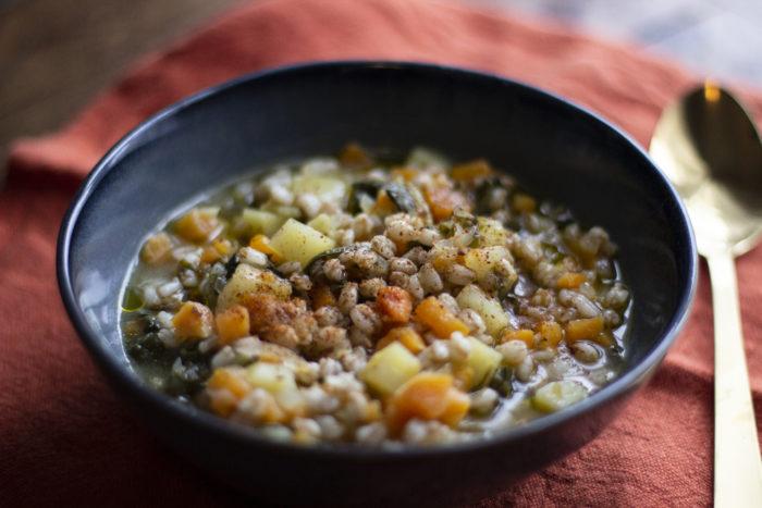 zuppa di farro con patate bietole cipolla dr nostini